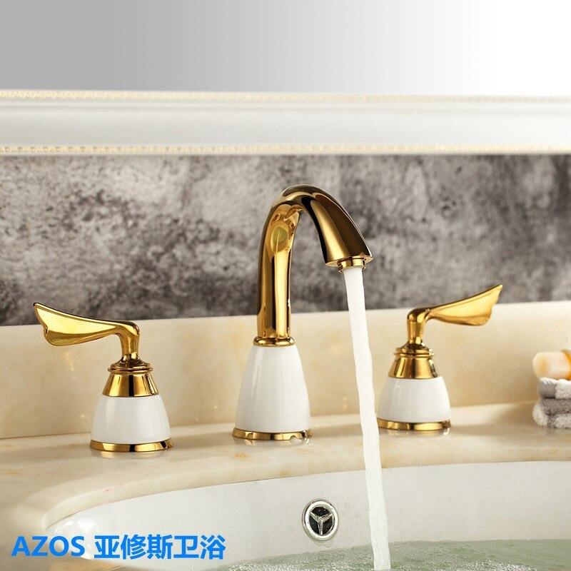 3 Pcs Golden Color Tap Ceramic 2 Handle Waterfall Tap Bathroom Basin Sink Bathtub Mixer Faucet Tap MPSK008<br><br>Aliexpress