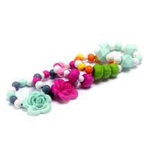 Food grade baby silicone teething bracelets with flower soft chunky beads bracelets for infants teether jewelry 1pcs/lot ST4010