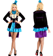 Sexy Mad Hatter Halloween Costume In Wonderland Costume Women Adult Magician Costumes Cosplay Fancy Dress(China)