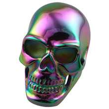 SUNYIK Unisex Rainbow Polishing Skull Head Skeleton Cocktail 316L Heavy Stainless Steel Finger Rings