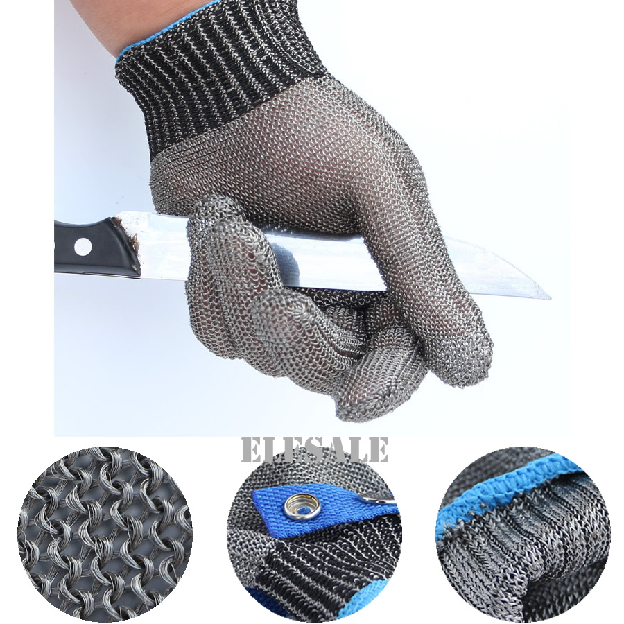 New 1 Pair/2Pcs Cut Resistant Stainless Steel Gloves Working Safety Gloves Metal Mesh Anti Cutting For Butcher Worker <br>
