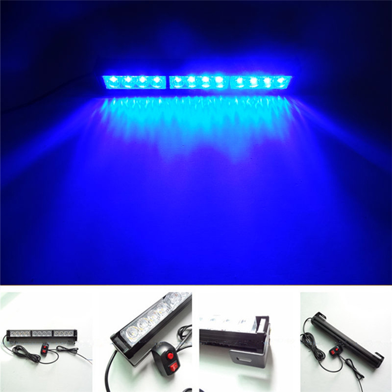Automobiles 12V 12LED Car Strobe Warning Lights Motorcycle High-Frequency Power Warning LED Blue Light<br>