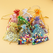 500pcs/lot 7X9cm Gold Heart Pattern Jewelry Bags Packing Drawable Organza Bags Wedding Gift Bags Sachet Organza