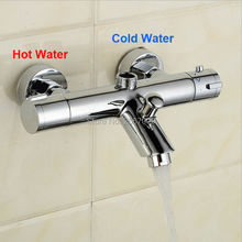 Free Shipping Modern solid brass chrome wall mounted bathroom thermostatic shower & bathtub faucet China torneira ZR956