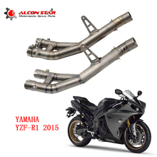 Alconstar- Titanium Alloy Modify Slip On Motorcycle Exhaust Muffler Middle Link Pipe For Yamaha YZF-R1 YZF R1 Full System Racing(China)