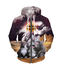 2017 new animal Sweatshirt loves food 3D print cute cats worship hamburger galaxy Zip hooded sweatshirt Thick fleece Hoodies(China)