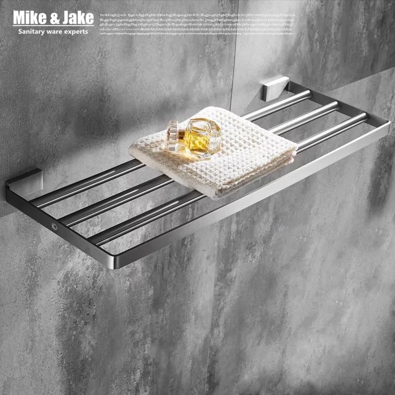Stainless steel 304 bathroom towel rack double bath towel holder shelf bathroom towel holder shelf chorm bathroom hardware 60cm<br>