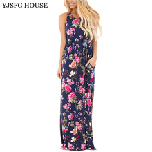 YJSFG HOUSE Vintage Sleeveless Women Summer Boho Beach Dresses Casual 2017 Floral Print Evening Party Dress Ladies O-neck Robe