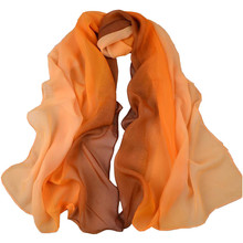 Fashion Female Scarves Women Scarf Chiffon Winter Scarf Gradual Colors Long Style Georgette Woman Shawl High Quality Designer(China)
