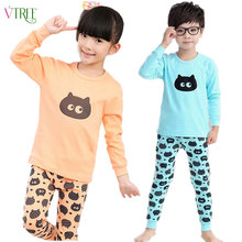 V-TREE Autumn winter girls pajamas long sleeve boys sleepwear cotton pyjamas children cartoon minions kids pajama sets for 2-12Y
