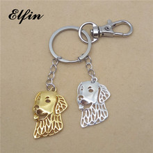 Elfin Wholesale 2017 Trendy Golden Retriever Key Chains Gold Color Silver Color Animal Pet Memorial Jewellery Dog Key Rings(China)
