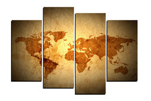 4 Panels Scrolls Old World Map Canvas Painting for Living Room Wall Art Picture Gift Home Decoration FOU0110