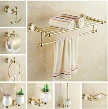 New brass and Jade  Bathroom Accessories Set,Robe hook,Paper Holder,Towel Bar,Soap basket,towel rack,towel ring, bathroom sets