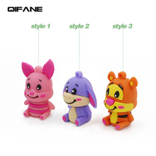 QIFANE Creative Cartoon Animal U Disk 16G Tiger pig model pen drive 4G 8G USB Flash Drive 32GB 64G memory stick Free shipping