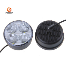 POSSBAY 1 Pair Round Auto Car Lights 4 LED DRL Daytime Running Lights Headlight Foglamp White Car External Lights Car Styling(China)