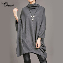 Celmia 2017 Autumn Oversized Blouse Top Women Turtleneck Batwing Sleeve Asymmetricl Casual Pullover Long Blusa Plus Size Shirts(China)
