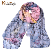 2017 new dropship postcard print winter scarf for women top design letter lady scarfs plaid foulard femme muslim hijab shawl(China)