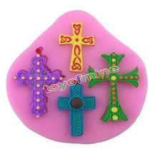 Gothic Cross Jesus Silicone Fondant Mould Cake Decorating Chocolate Baking Mold(China)