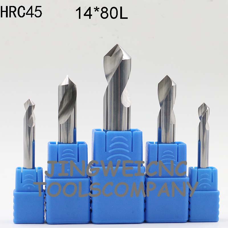 HRC 45 Tungsten Carbide NC Spot Drill countersink drill bit 14*80mm length with 60 and  90degreee<br>