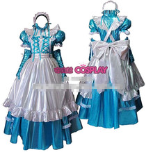Hot Sale Custom Made Long Sleeve Princess Japanese Maid Outfit Light Blue PVC Dress Cosplay Party Set Apron Costume
