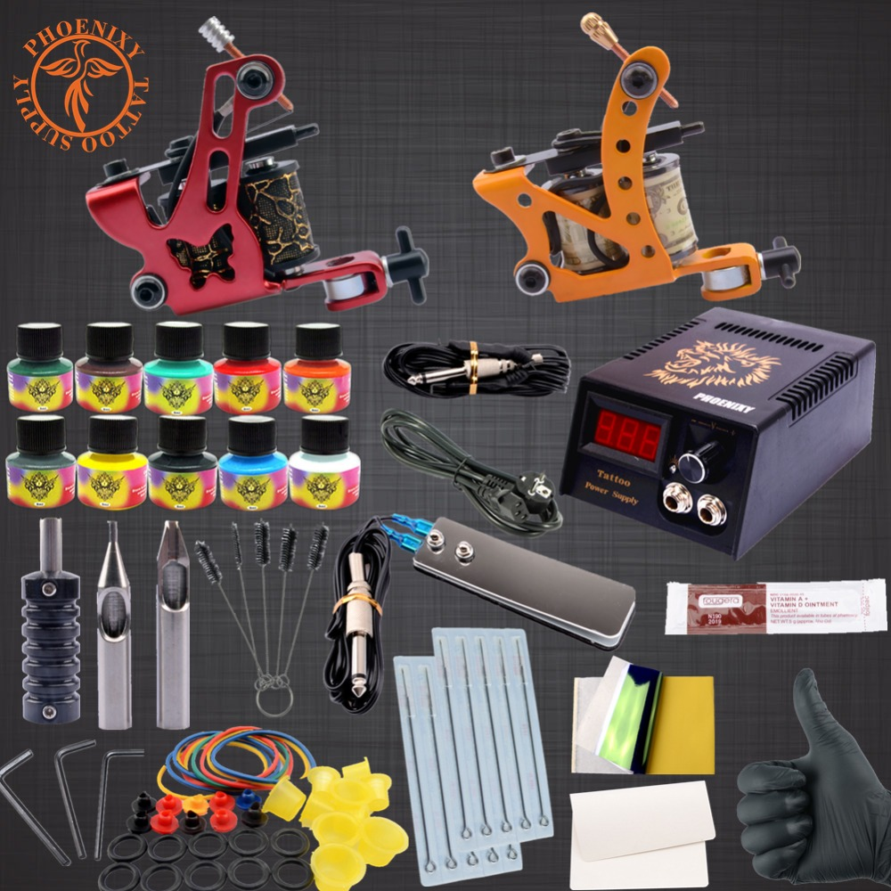 Starter Beginner Complete Tattoo Kit Professional Tattoo Machine Kit Rotary Machine Guns 10 color Inks LCD Power Supply Grip Set<br>