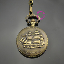 classic men gift Sailing quartz boat ship pocket watch with short waist chain hour low price good quality retro vintage father