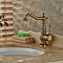 Deck Mounted Antique Brass Bathroom Basin Faucet Single Handle Hole Mixer Tap