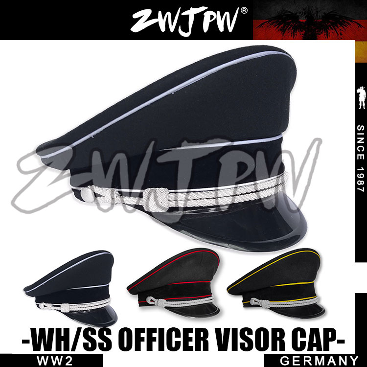 WW2 Army Cap Collectibles Black Officer Large Brimmed Hats with to badges DE/401134+<br>