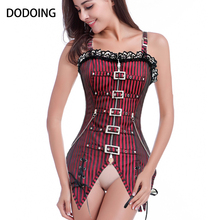 DODOING hot sale corset Red/Black Steampunk zipper-up&buckle-up sexy women Underwear+G-string Embroidered overbust corset(China)