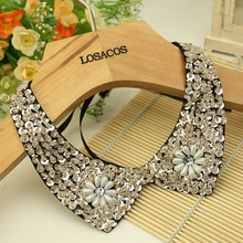 Fashion wild retro beaded sequins rhinestones lace collar Spring decoration false collar Necklace diy clothes accessories
