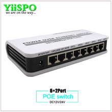 YiiSPO 8 Ports Poe Switch 6+2 Ports DC Desktop Ethernet Switch Network IP Cameras Powered PoE Adapter 12V or 24V 100meter