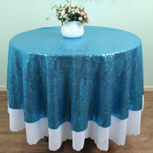 "72"" Round Teal Blue Sequin TableCloths Banquet Table linens overlays Wedding party Glitz decoration(China)"