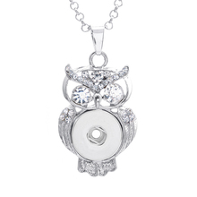 Fashion XL0014 Rhinestone Owl Beauty Metal ginge snap pendant necklace 70cm fit 18mm charm snap buttons DIY Accessories