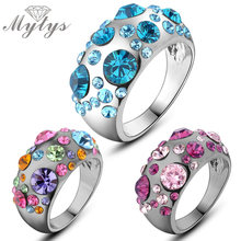 Mytys Fashion Trendy Beautiful Flower Design Romantic Crystal Rings Unique Design For Young Girls and Women R827 R828 R872
