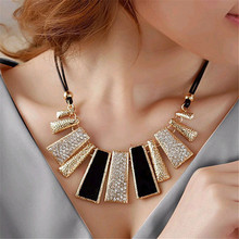 Gorgeous Necklace Women Fashion Fashion Design Beads Enamel Bib Leather Braided Rope Chain Necklace Gift Choker #1208