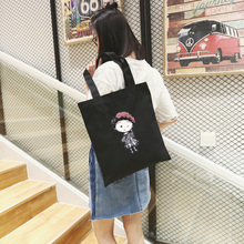 2017 Women Canvas Shopping Bags Shoulder Folding Wholesale Custom Fabric Tote Cotton Print ECO Reusable School Portable Handbag