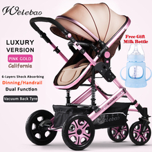 Free Shiping Portable Folding Baby Stroller  Aluminium Frame Light-Weight Pram High-View Infant Carrier Shock-Absorb Vacuum Tyre