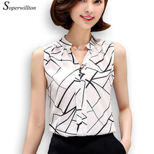 Soperwillton New 2017 Summer Chiffon Blouse shirt Women Printed Sleeveless White top Blouses Shirts Female Office tops #A806