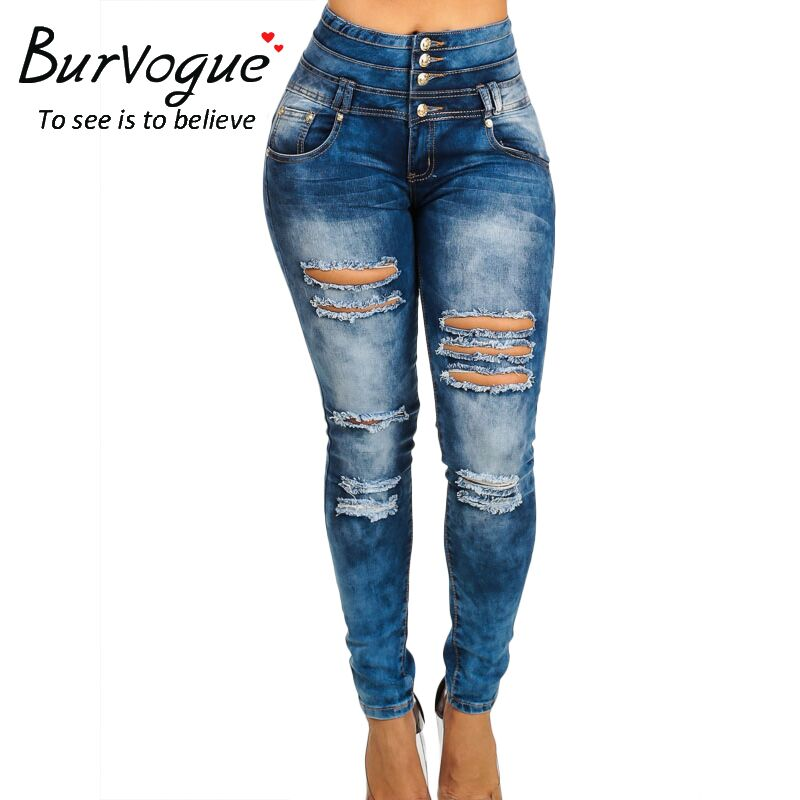 Burvogue Womens High Waist Jeans Ripped Skinny Leggings Butt Lifting Denim Hole Jeans Pants Large Size Buttons Long TrousersОдежда и ак�е��уары<br><br><br>Aliexpress