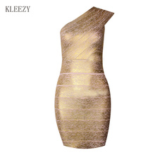 Top Quality Bandage Knitted Dress Women Celebrity One Shoulder Gilding Elegant Bandage Evening Party Club Dress H847(China)