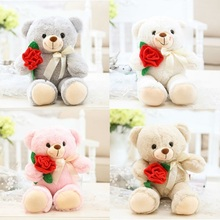 2017 New Cute Rose Flower Teddy Bear Plush Toy 35cm 14inch Free Shipping 1pcs Lovers Children Present Four Colors(China)