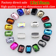 13x18mm 20pcs superior quality rectangle sew on claw rhinestone are full color DIY
