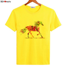 BGtomato Hand printing horse art shirts lucky victory t shirts for men Original brand good quality comfortable casual tops(China)