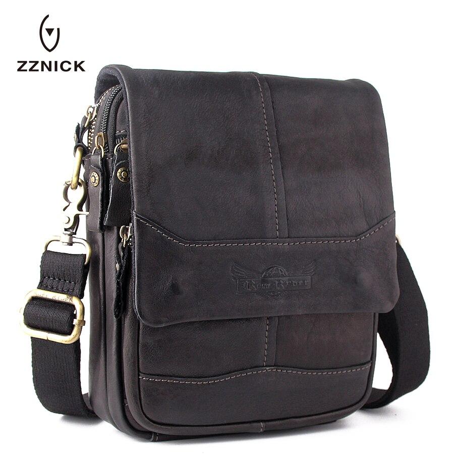ZZNICK 2017 New Men Genuine Cow Leather Casual Messenger Bag Leather Men Shoulder Bag Black Crossbody Bags Mens Travel Male Bag<br>