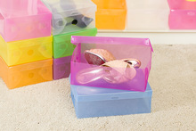 10pcs Colorful Foldable Plastic Shoe Storage Case Boxes Stackable Organizer Shoe Holder Easy DIY Organizador Free Shipping