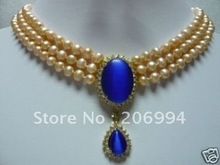 Fine 3 row pink pearl & blue opal necklace pendant free shipping