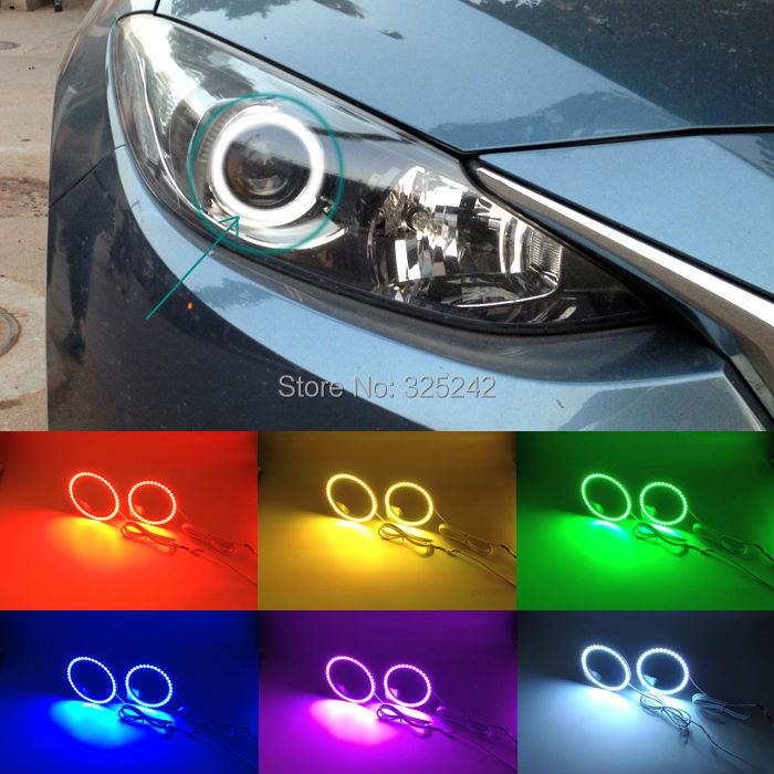 For Mazda 3 Axela (BM;2013-UP) Mazda3 Excellent Angel Eyes kit Multi-Color Ultrabright 7 Colors RGB LED Angel Eyes Halo Ring<br><br>Aliexpress