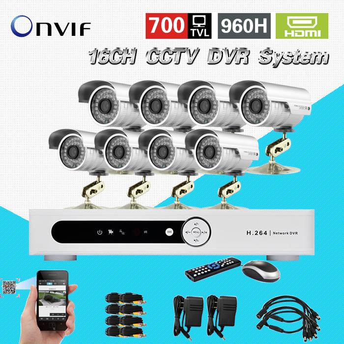 Security 16CH H.264 Network DVR 8ch Outdoor IR Camera CCTV Video surveillance System Kit DVR monitor 16 channel CK-252