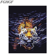 FGHGF 2016 New Framless DIY Tiger Oil Painting By Numbers Hand Painting Oil On Canvas Modern Style