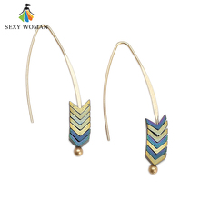 SEXY WOMAN Female Blue Natural Rock Earrings Retro Gold Triangle Pendant Earrings Women's Gift Creative Style Vintage Earrings(China)